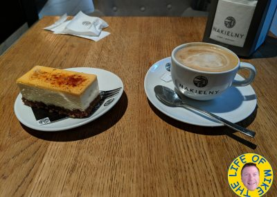 Coffee and cheesecake at my new favorite cafe in Krakow