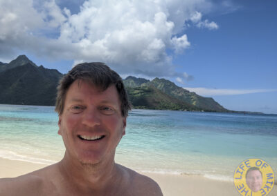 Mike at the beach on Moorea